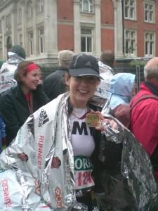 At the finish line! London Marathon, 2008