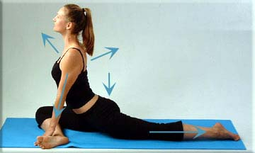 release tight hip flexors with the pigeon pose